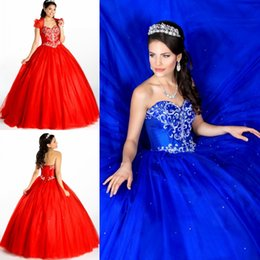 Wholesale 2015 Quinceanera Prom Dresses For Sweet Teens Girls Cheap Royal Blue Corset and Tulle Long Ball Crystals Beading Formal Wear with Jacket