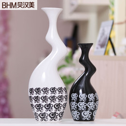 Online Shopping Home Accessories Living Room Decorated Ceramic Vase Ornaments Modern Minimalist Black And White Minimalist