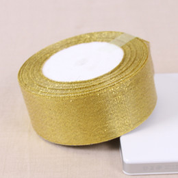 Wholesale Silver and gold yards mm Wide Metallic Ribbons for Gift Wrapping and Wedding Place Decorations Christmas Gifts Packing
