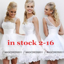 Wholesale 2015 Cheap IN STOCK Beach Wedding Dresses Short Backless Bridal Gowns A Line White Appliques Pearls Beaded Short Mini Party Prom Dresses