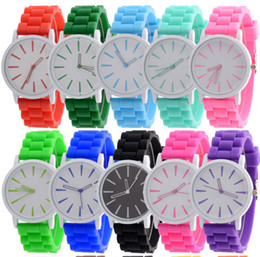 Christmas gift candy colors women men Genneva watch Silicone Rubber Hollow out needle watches jelly candy fashion students wristwatches