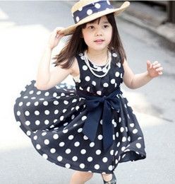 Wholesale Hot Sale Girls Clothes Navy Polka Dot Printed Lolita Style Children Clothes Girls Y Summer Dress Baby dresses for Princess girls