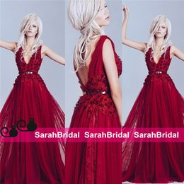 Wholesale 2015 Bridal Occasion Evening Party Dresses Elie Saab Style Alfazairy Haute Couture Maxi Long Skirt Wine Red Celebrity Formal Wear Prom Gowns