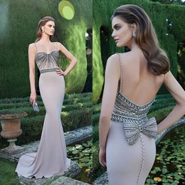 Wholesale Tarik Ediz Formal Dresses Sweetheart Spaghetti Straps Beading Bodice Mermaid Dusky Purple Chiffon Covered Buttons Prom Dresses Evening