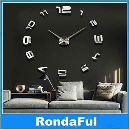 3d diy number home decor wall clock modern design decorative wall designer clocks silver art watches home decor