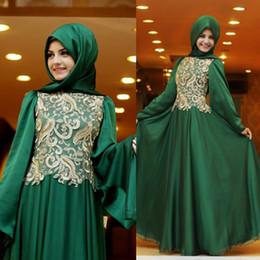 Wholesale Moroccan Kaftan Emerald Green Arabic Muslim Evening Dresses Abaya Dubai Women Plus Size Chiffon Maxi Gowns for Prom Party Occasion new