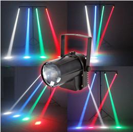 x10 récent RGBW couleur unique Affect 5W LED faisceau Spot Light blanc / rouge / vert / bleu Party Bar DJ Stage de lumière PINSPOT Lumières + Effet Projecteur