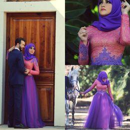 Wholesale Elegante vestido de novia de línea A Appliques de color rosa púrpura mangas largas de encaje vestido de novia vestidos de árabe partido musulmán tamaño Vestido J1120