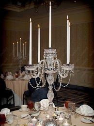 Antique big crystal candelabra 5 arms table lamps vintage dining room candelabrum table light wedding candleholder desk light HSA1541