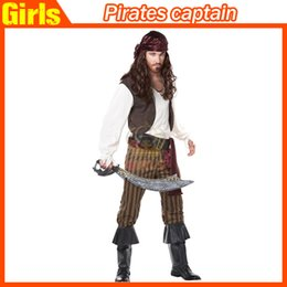 Wholesale 2015 New Pirates Caribbean Cosplay Costume Captain Jack Sparrow Adult Suit Halloween Performance Stage Theme Classic Character Uniform