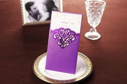 Wholesale Wishmade Wedding Invitations purple hollow laser cutting wedding cards CW2009 style