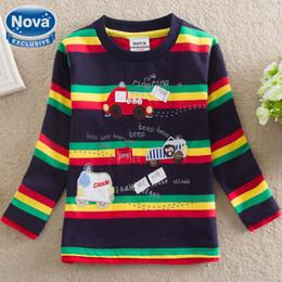 Wholesale Al por mayor NOVA mayorista nueva ropa algodón babykids compras libres chico lindo t camisa impresión de la raya del coche de los niños pequeños
