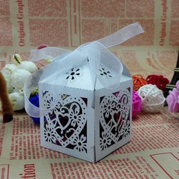 Wholesale 50pcs Laser cut Ivory Birdcage Wedding Candy Box Favor Box wedding party Gift Favour Boxes Chocolate Box with ribbon