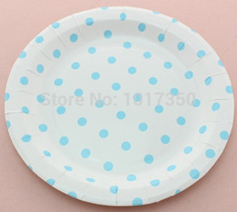 Discount Wedding Decor Wholesale Suppliers Tableware Supplier Kids Birthday Decor Light Blue Polka Dot Paper Plate