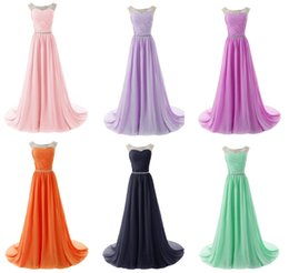 Wholesale 2015 New Arrival Elegant A Line Scoop Floor Length Crystal Ruched Chiffon Prom Dresses