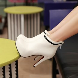Wholesale 2015 Pointed Wedding Boots High Heel White Bride Bridesmaid Boots Fine with Rhinestones Round Women boots Prom Party Evening Shoes