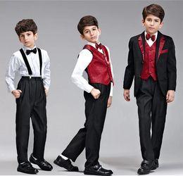 Wholesale 2014 new sale kids boys blazer suits set boys wedding clothes single breasted block color formal boys wedding suit bows