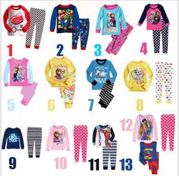 Wholesale Frozen Kids Sleepwear Children Pajamas Autumn Clothes Anna Elsa Spiderman Cars Olaf Cartoon Baby Cotton Underwear T shirt and trousers Pants
