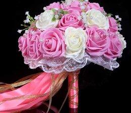 Wholesale Cheap Pink Pearls Rose Bride Wedding Flowers Bouquet Bride Holding Flowers Artificial Wedding Favors Wedding Supplies Garlands WW