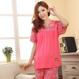 Wholesale loose big yards pregnant women cotton short sleeved pajamas summer month of maternal confinement bow clothes suit