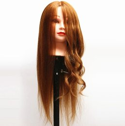 Wholesale quot Real Human Hair Training Head Cosmetology Hairdressing Mannequin Blonde hairdressing dolls heads