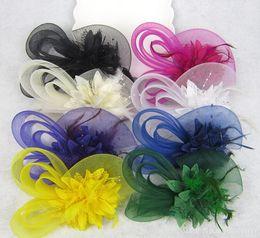 Wholesale 10pcs MEW Fashion Fascinators Mini Top Hat Hair lace feathers Wedding Party Hair Accessories color