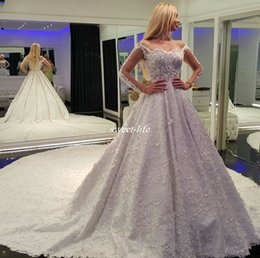 Wholesale High Quality Full Lace Wedding Dresses with Illusion Long Sleeve Bateau Neck Flowers Sequins Cathedral Train Royal Wedding Bridal Gowns