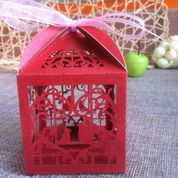 Wholesale Wedding party favor box Laser cut paper candy chocolate boxes Love bird cages Decoration wedding boxes