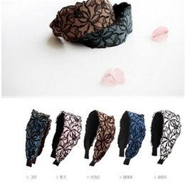 Wholesale Fashion wide brimmed lace flower and bowknot hairbands High Quality hair accessories fashion lady headwear supply For Girl Women