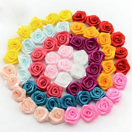 Wholesale Newborn Handmade Lovely Mini Satin Ribbon Rolled Fabric DIY Rose Flowers For Girl Hair Accessories