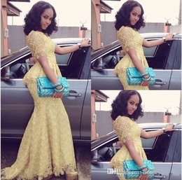 Wholesale 2015 Nigerian Evening Dresses Light Yellow Lace Mermaid Formal Dress With Short Sleeves Peplum Wedding Bridal Gowns Plus Size Cheap Custom