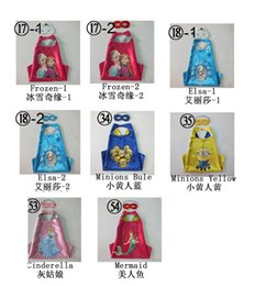 Wholesale Kids Minions Capes Frozen Elsa Anna Capes Masks Set Double Layers Boys Girls Costumes Cosplay Capes Halloween Party Cinderella Mermaid Cape