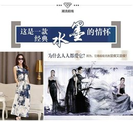 Wholesale Chinese wind amorous feelings of cotton and linen ink printed dresses