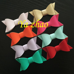 Wholesale Artificial Leather Hair Bows With Clips Baby hair bows grips Ribbon hair bows clips Kid s Fashion Hair Accessory