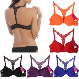 Wholesale Hot Womens Sexy Fashion Front Closure Push Up Seamless Bra Lace Racer Back Racerback Y line Straps Colors G0809