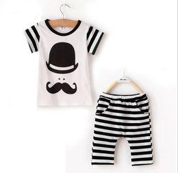 Wholesale Baby Boys Clothes Set Summer New Childrens Cartoon Big Beard Hat Short Sleeve T shirt Stripe Harem Pants Kids Clothing Boys Outfit