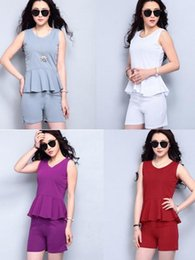 Wholesale Round neck Short Sleeve Women Junior Solid Tops Cotton lotus leaf edge T Shirt with shorts suit fashion lady sumer clothing colors
