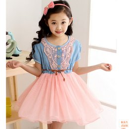 Wholesale 2015 Newest Summer Girls Denim Dress Baby Tutu Princess Clothes Lace and Gauze Hem Babies Kids Clothes Gifts