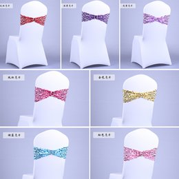 Wholesale Cheap Twinkle Round sequins sequined chair buckle chair band sash bow ties elastic bands with buckle for wedding hotel banquet decoration