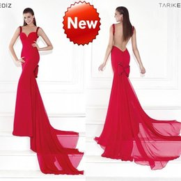 Wholesale Tarik Ediz Backless Spring Evening Dresses Sleeveless High Collar Spaghetti Bow Evening Gown Beads Sequin Covered Button Prom Dress