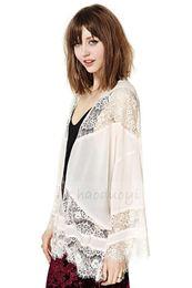 Wholesale 1504 new chiffon women shirt lace decoration batwing sleeve for and haoduoyi
