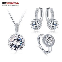 wholesale lzeshine 2016 top sale luxury classical women jewelry set designer round necklace earring ring set parure bijoux femme cst0034 b
