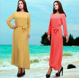 Wholesale Muslim dress for ladies pure color plus size dress Ethnic clothing Hot Sale