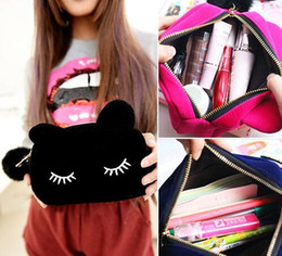 Wholesale Portable Cartoon Cat Coin Storage Case Travel Makeup Flannel Pouch Cosmetic Bag