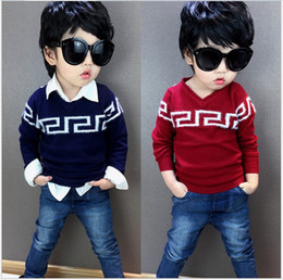 Wholesale Boys Pullover Children Sweater Autumn New Hot Sale Baby Boy V neck Crochet Pullover Sweaters Kids Clothes Child Knitted Casual Pullover