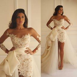 Wholesale 2016 Full Lace Wedding Dresses Yasmine Yeya Sheer Bateau Appliqued Long Sleeve Bridal Gowns Sweep Train Detachable Mermaid Wedding Dress