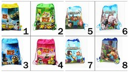Wholesale 34 cm Minion Drawstring Bags Despicable Me minecraft backpacks non woven backpack cartoon string backpacks in stock