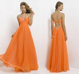 Wholesale Cheap Long Chiffon Party Dresses Halter Orange Beaded Floor Length Long Prom Dress Rhinestones Hot Sales Formal Gown For Women