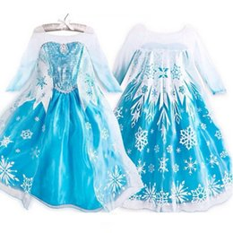 Wholesale 2015 Frozen Clothes Cosplay Elsa ANNA Princess Dress kids Blue Short Sleeve Cosplay Dresses Party Cute Gown