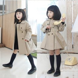 Wholesale 2015 Kids Girls New Arrival Double Breast Trench Coats Princess Kid Girl Candy Color Belts Pockets Long Fall Winter Long Outwears
